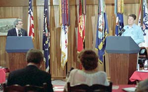 David Stockman stood for Walter Mondale in this rehearsal for a 1984 debate.